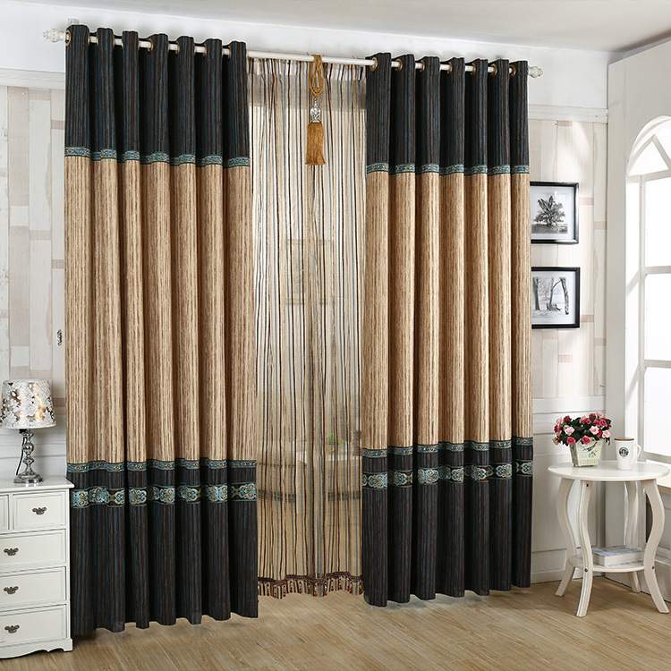 Chinese Chenille Gold Jacquard Stitching Curtains for Living Dining Room Bedroom.