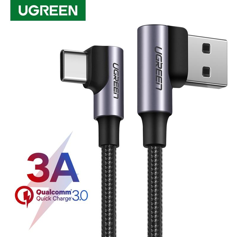Ugreen нейлоновый USB C кабель 90 градусов Быстрое Зарядное устройство usb type C кабель для Xiaomi Mi 8 samsung Galaxy S9 Plus мобильный телефон USB-C шнур