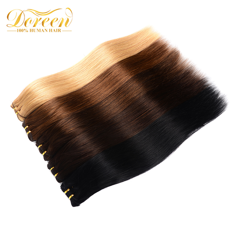 Human-Hair-Extensions Remy-Hair Doreen Machine-Made Clip-In 60-Blonde Natural Straight title=
