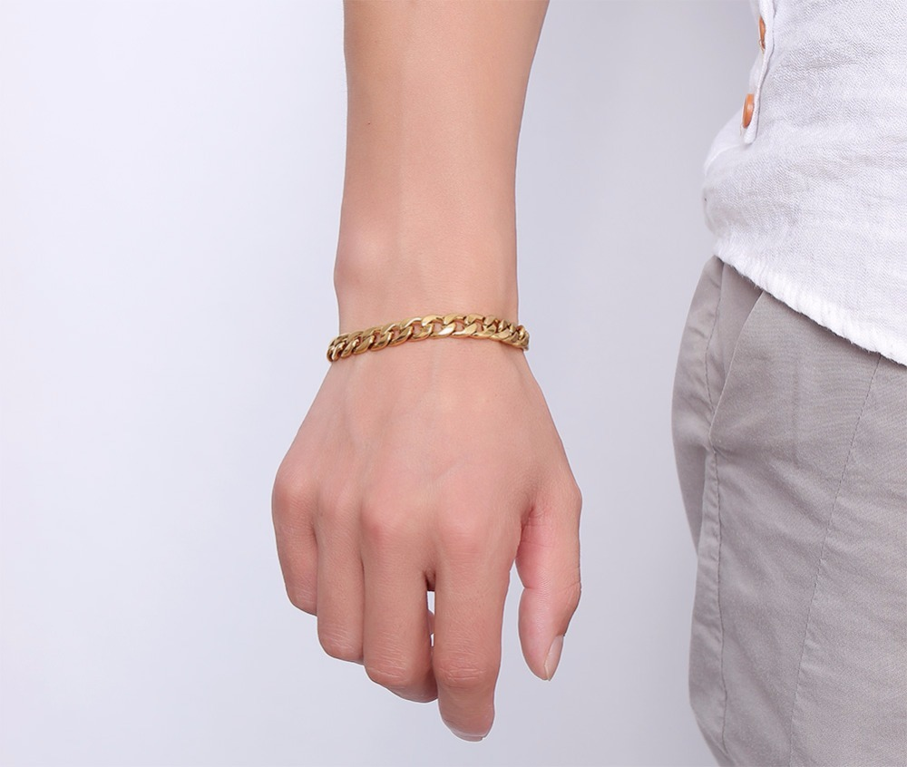 Mens Womens Bracelets in Gold Best Stainless Steel Cuban Curb Link Chain Bracelet Men Fashion Jewerly Accessories Pulseira Masculina 11