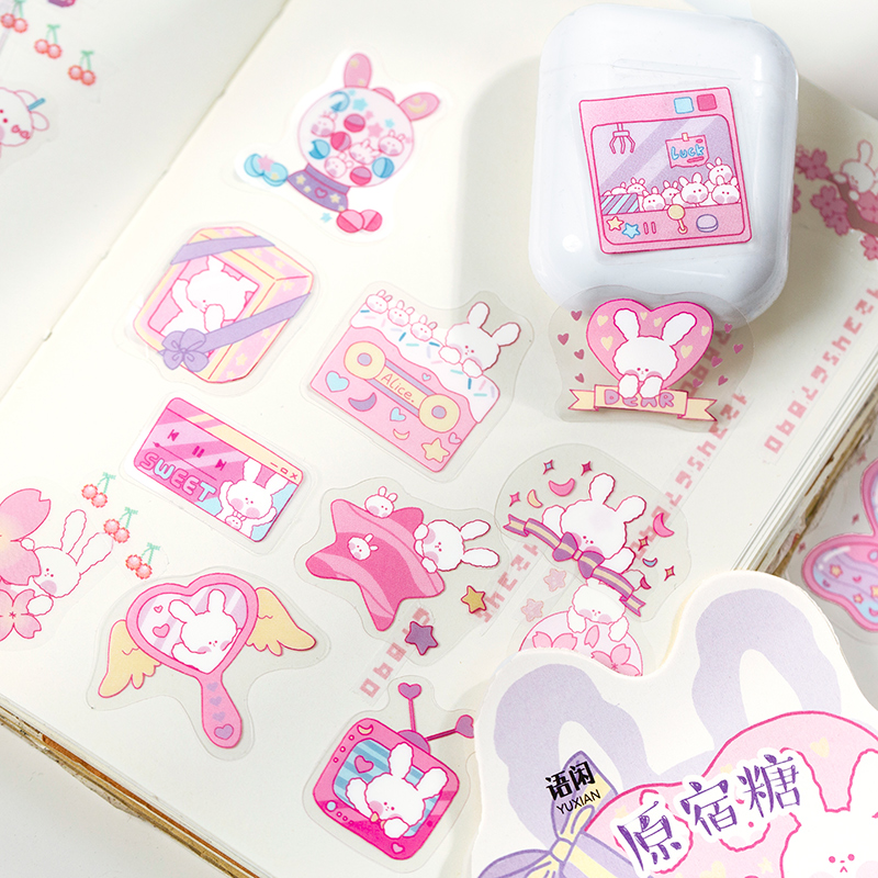40 pcs/bag Cute Cherry Rabbit Series Journal Decorative Stickers Scrapbooking Stick Label Diary Stationery Album Kawaii Stickers