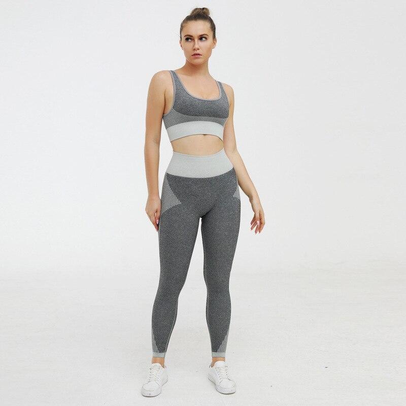 Clothes 2020 Black TRACKSUITS Sportwear Crop Top + Legging Pants Trouers Two Piece Set For Women Summer Clothes Jogging