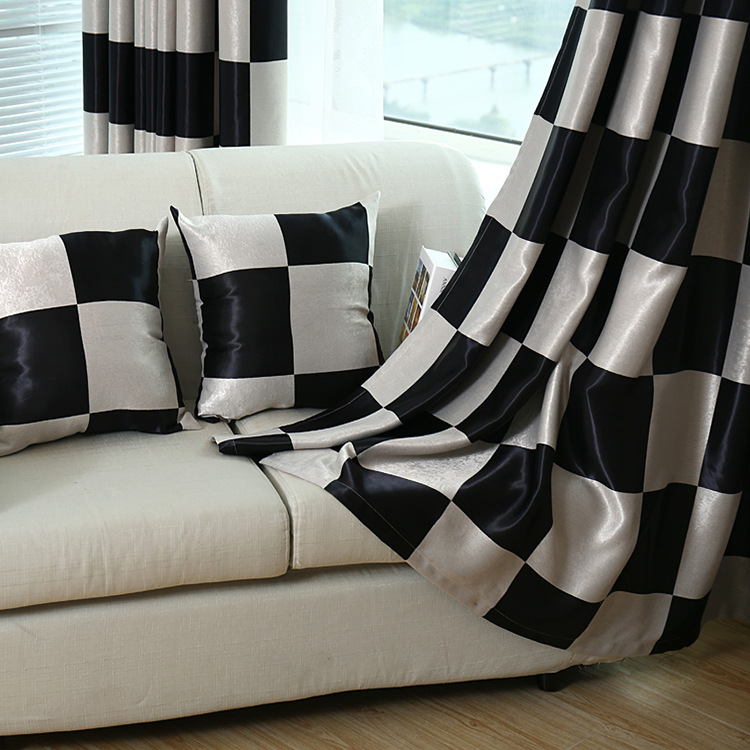 Square black and white plaid double sided Jacquard thickened shade curtains curtains for living room and bedroom title=
