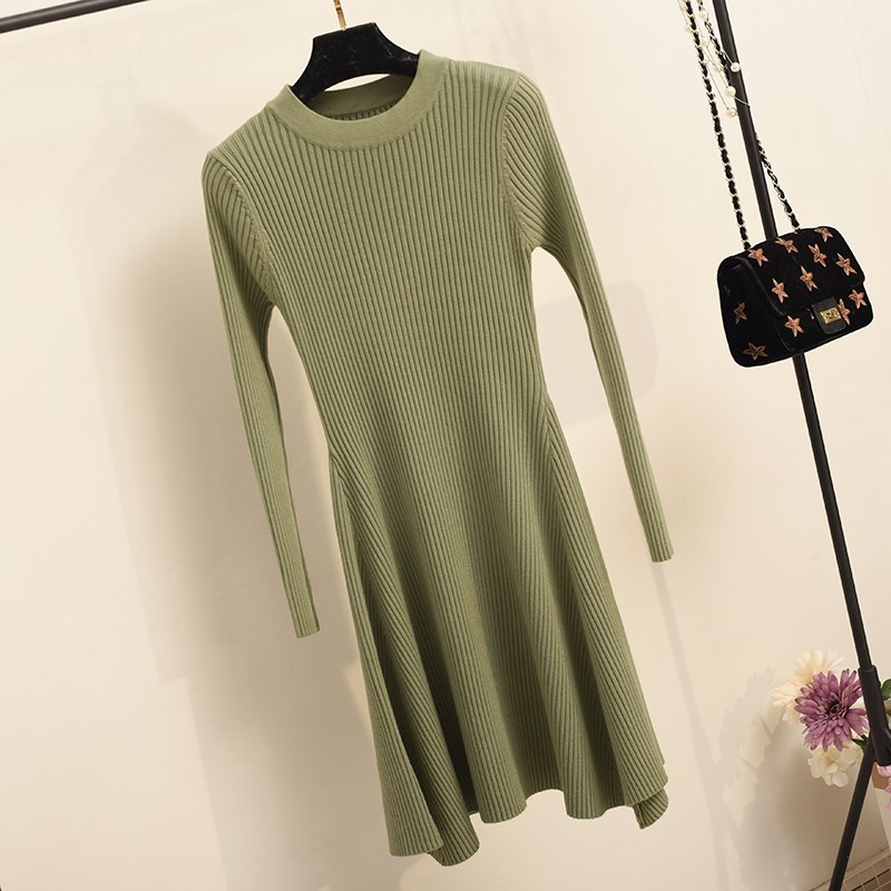 Women Long Sleeve Sweater Dress Women's Irregular Hem Casual Autumn Winter Dress Women O-neck A Line Short Mini Knitted Dresses 15