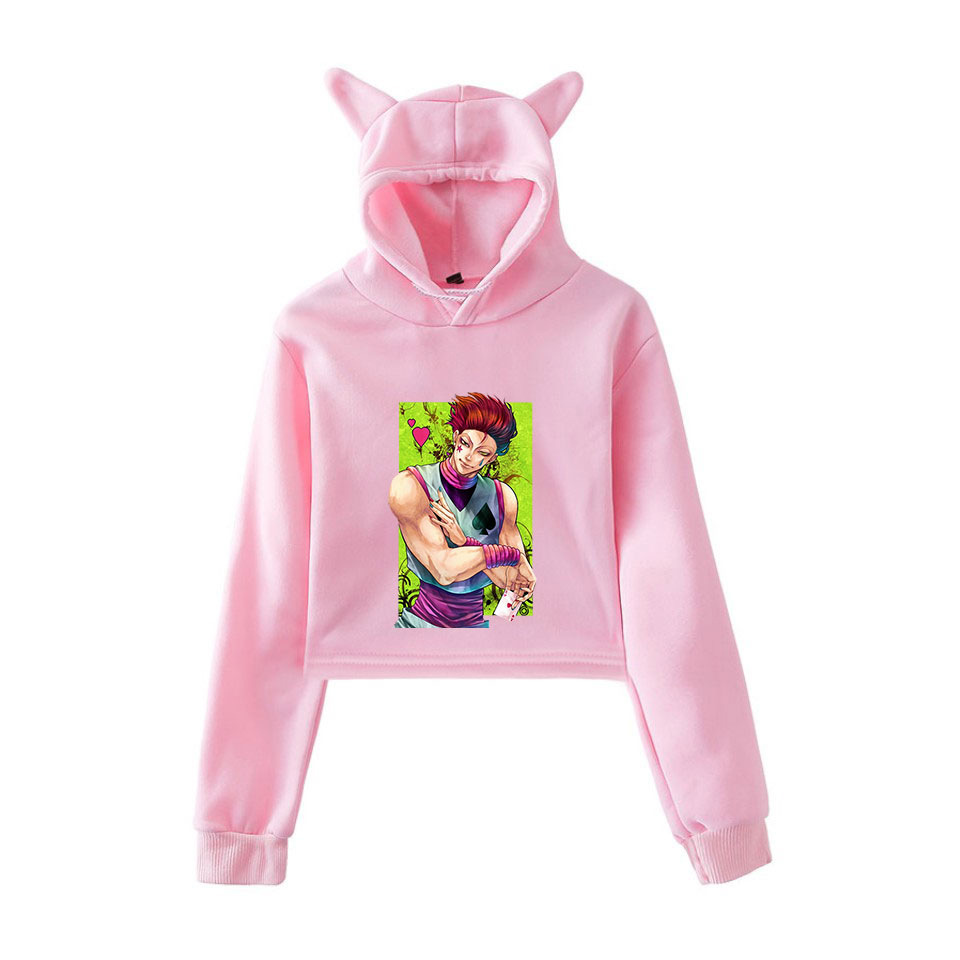 Cue Tee Store Teen Girls Hunter X Hunter Hoodie HXH Cropped Tops Killua Gon Hisoka Striped Sweatshirt