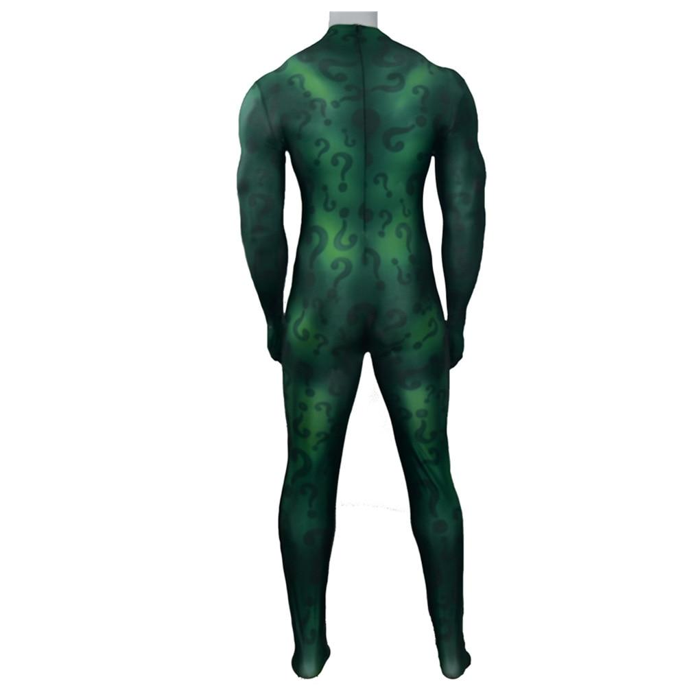 Adult the Riddler Batman Cosplay Costume Halloween Costumes Superhero Bodysuit Spandex Green Zentai Custom