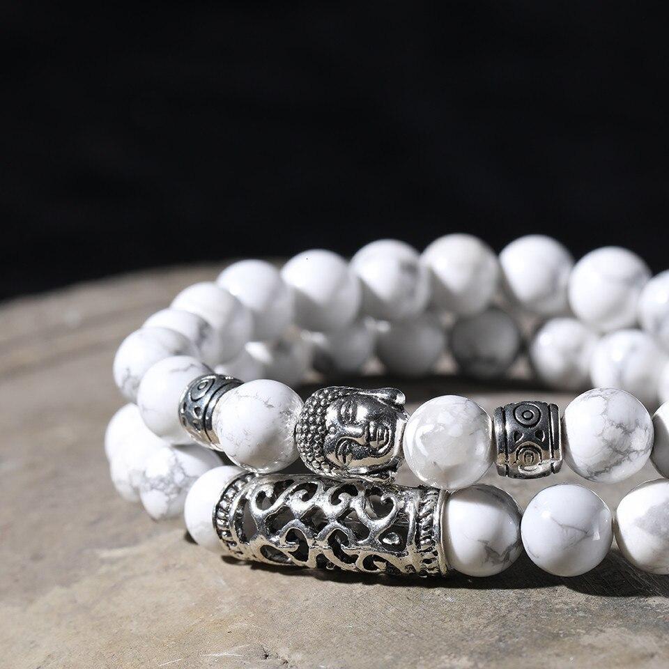 12 Style Black Lava Stone Prayer Beads Buddha Men Bead Bracelet Tiger Stones Beaded Bracelets for Women and Mens Male 2pcsSet  (42)