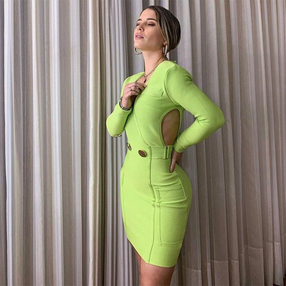 2020 Fashion New Women Green Bandage Dress Sexy V-neck Long Sleeve Hollow Pocket Bodycon Mini Dress Celebrity Club Party Vestido