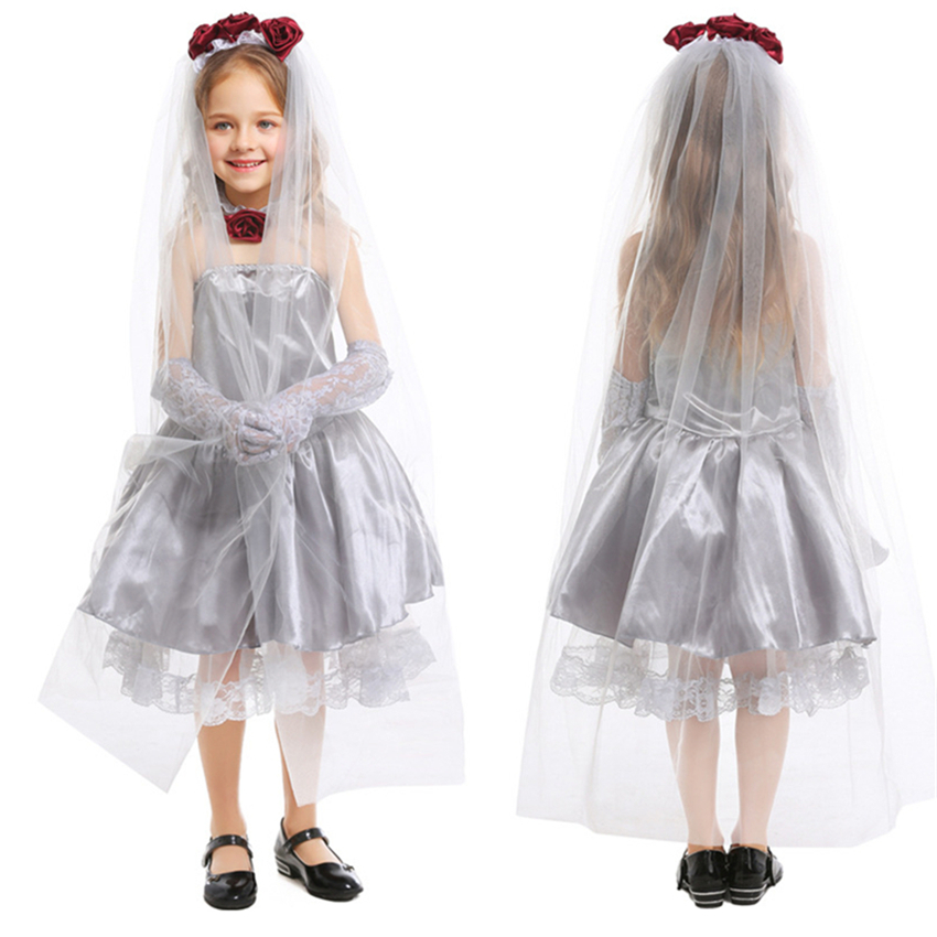 Child Wedding Dress Gothic Bride Ghost Girl Children Halloween Fancy Dress Party