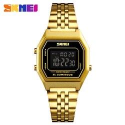 Модные женские цифровые часы, Роскошные наручные часы из нержавеющей стали с браслетом из розового золота, спортивные женские часы топового бренда SKMEI