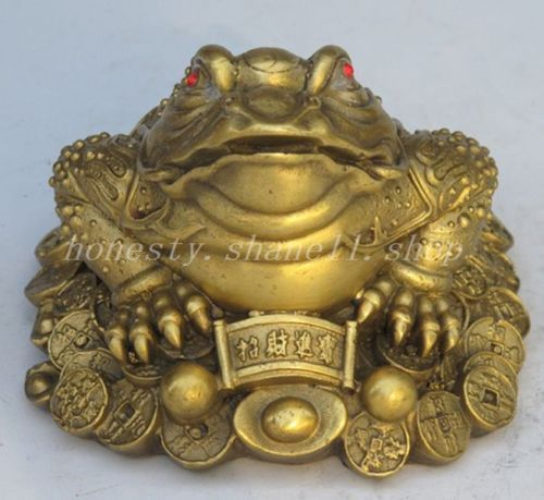 Chinese old collection handwork bronze Golden Toad bat statue Pendant