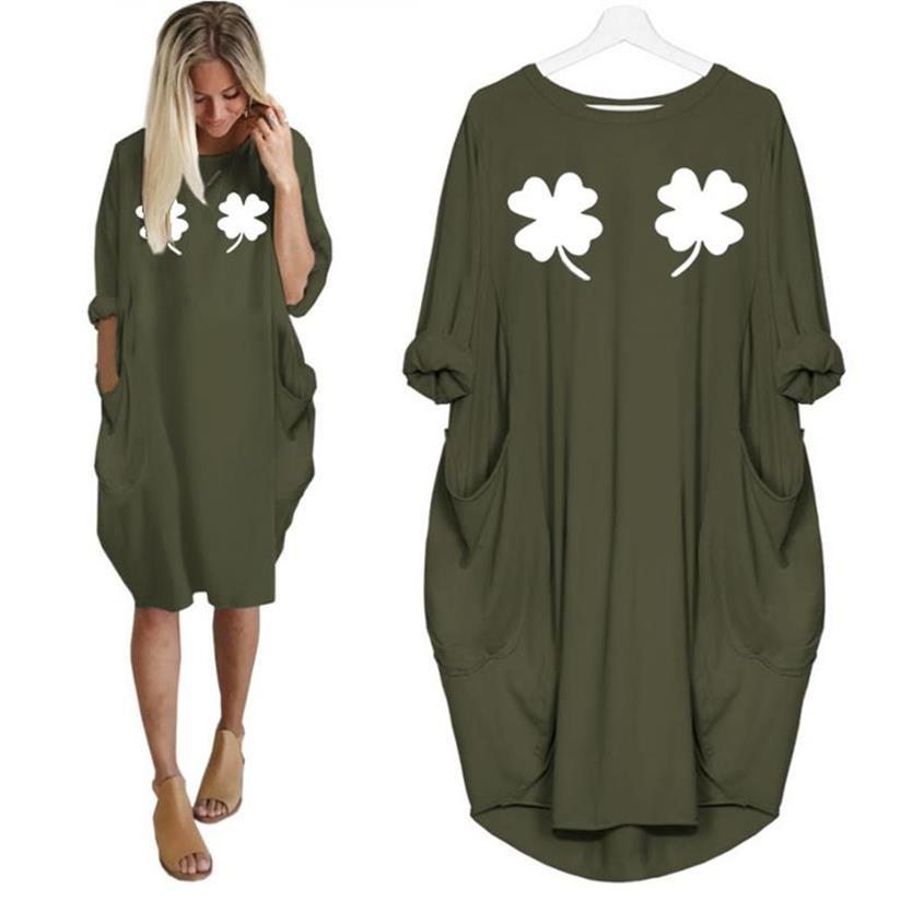Women St Patrick's Day Print Pocket Summer Top Oversized T-Shirt