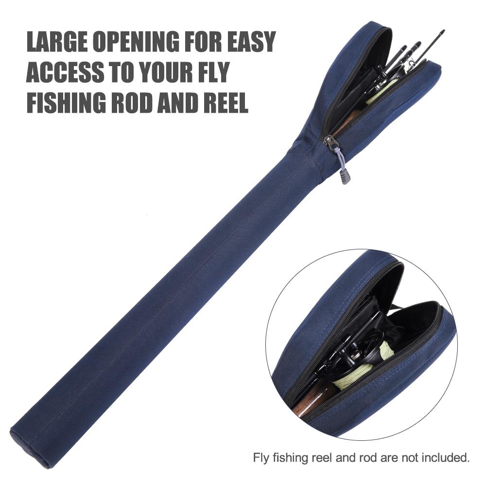 Sac Etui Poche à Canne à Pêche Elastique et Portable en Tissu de Coton
