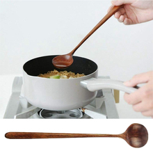 Long-Handle Spoons Soup Wooden Cooking Korean-Style Stirr Round for Mixing 1pc 100%Natural-Wood