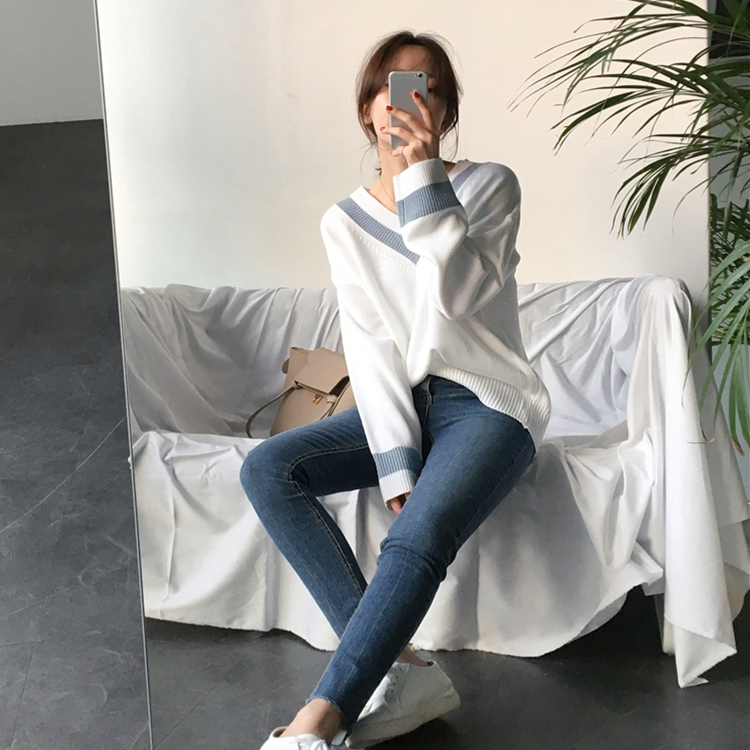 Colorfaith New 19 Autumn Winter Women's Sweaters Black White Pullover Korean Style Minimalist Casual Office Lady SW8853 4