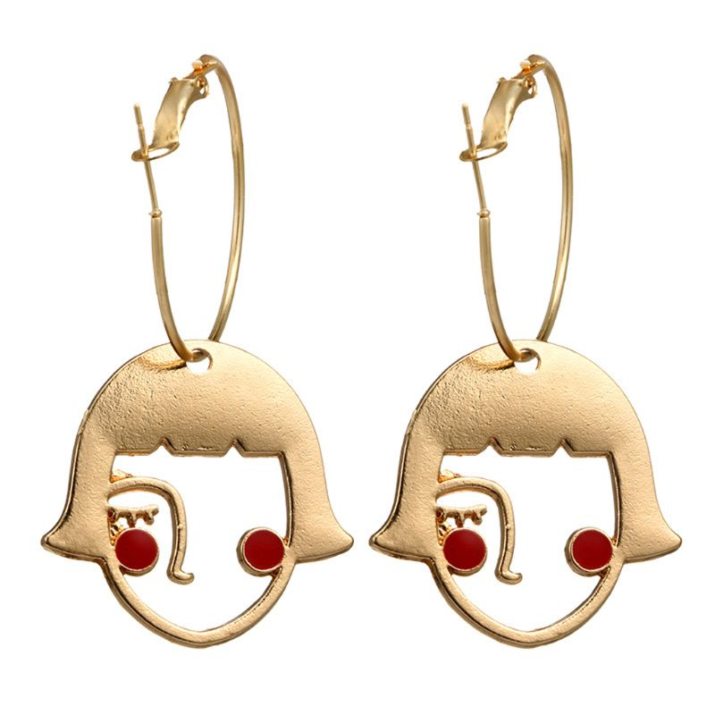 Gold Tone Cute Shy Girls Abstract Hollow Face Drop Earrings Fashion Jewelry