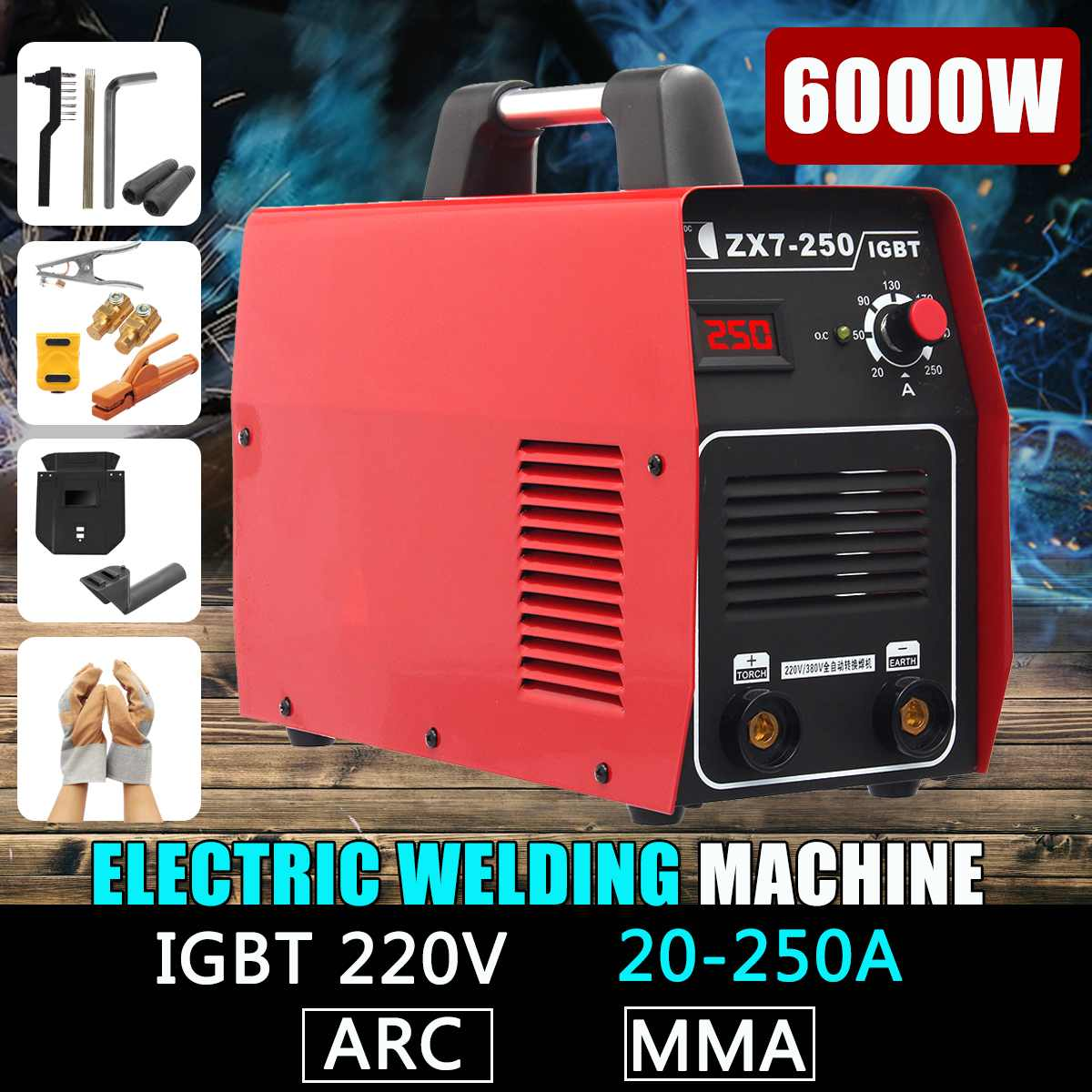 250A 220V MMA ARC Digital Electric Welding Machine DC IGBT Inverter Stick Welder