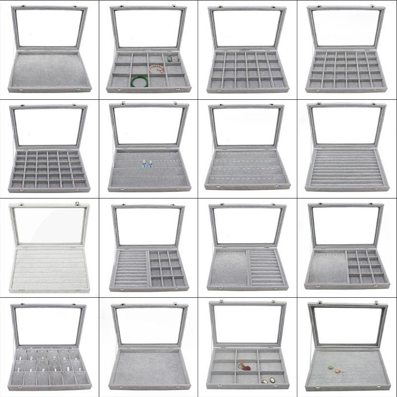 Tablett Schmuck Lagerung Organizer Stehen mit griff-28 Löcher 11 Haken