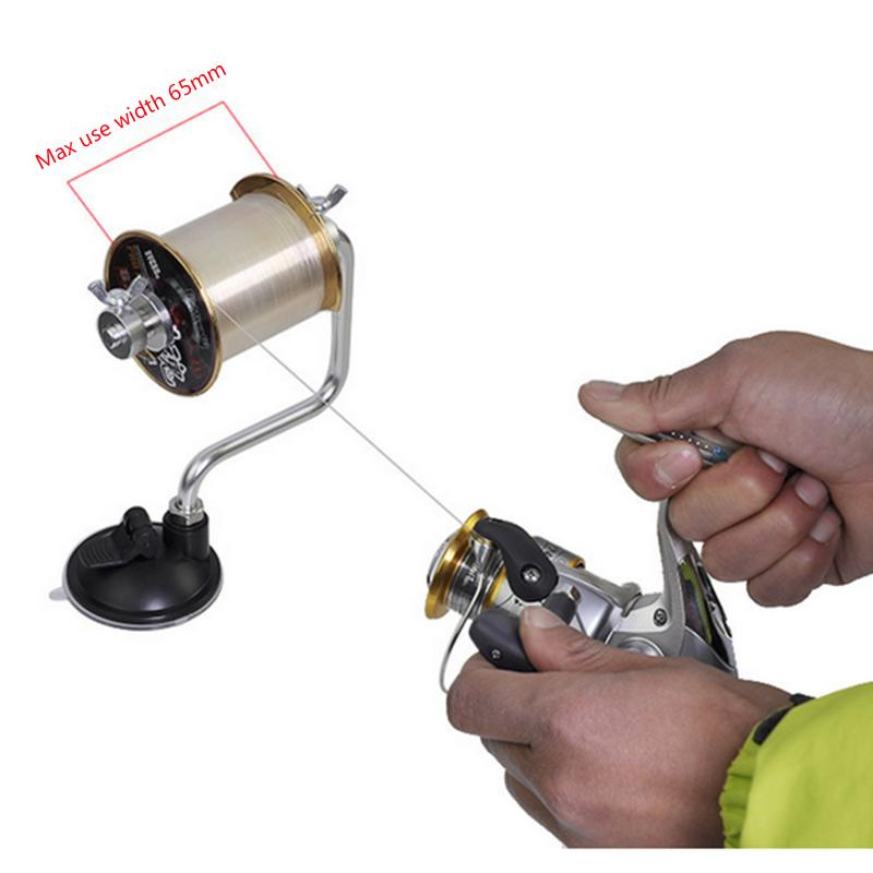 Portable Aluminum Fishing Line Winder Fishing Reel Spool Spooler System Tackle Tool Suction title=