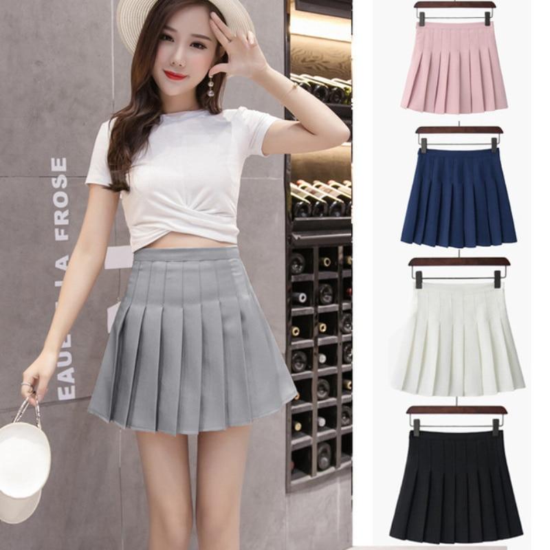 Women Short High Waist Pleated Skater Tennis Skirt School Uniform With Inner Shorts Sports Badminton Run Training Tennis Skirts-5