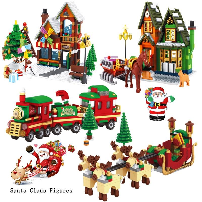 2019 Legoing Christmas Gift Winter Village Model Building Blocks Compatible Legoed City Train Santa Claus Figures Bricks kid Toy