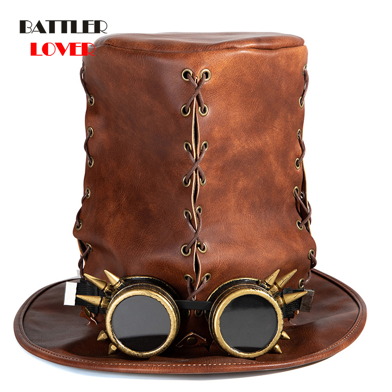 Cosplay Halloween Hats Steampunk Period Hat Steampunk Cap Carnival Masquerade Party for Men Split Leather Casual Solid Unisex