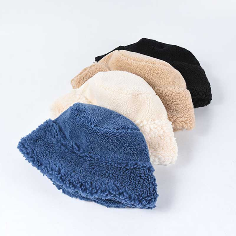 Fibonacci women winter crimping bucket hat thick warm elegant solid color fur hats ladies fashion caps