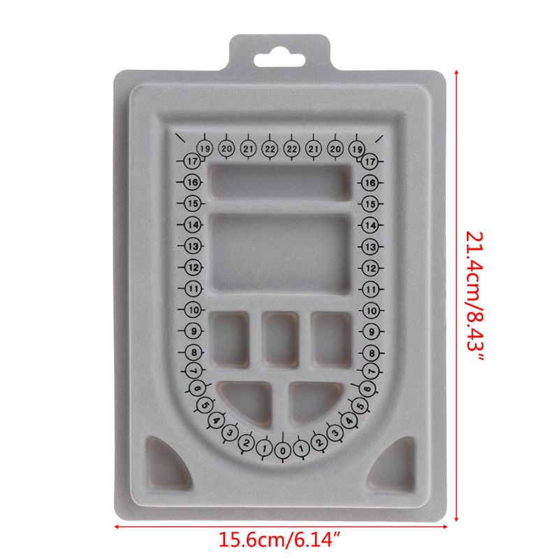 DIY Necklace Tray Design Bracelet Jewelry Making Tools Crafts Gifts Organizer Compartment Beads Beading Gray Flocked Board