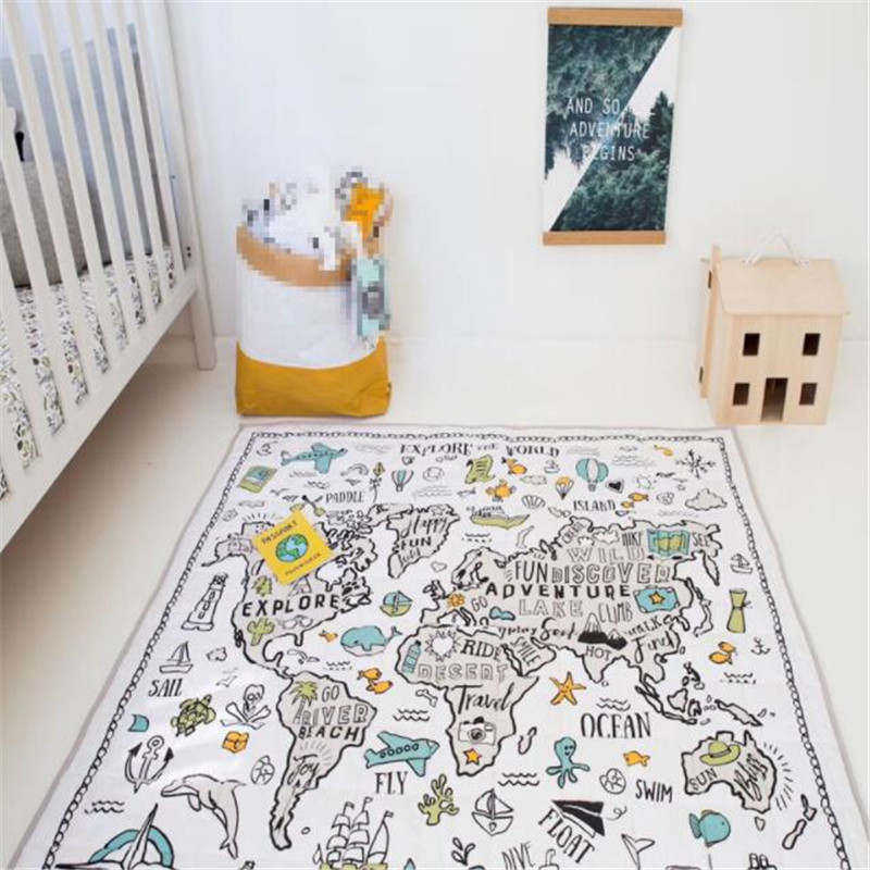 Cotton Childrens Round Crawling Floor Play Mat Toys Game Adventure World Map Foldable Mats Baby