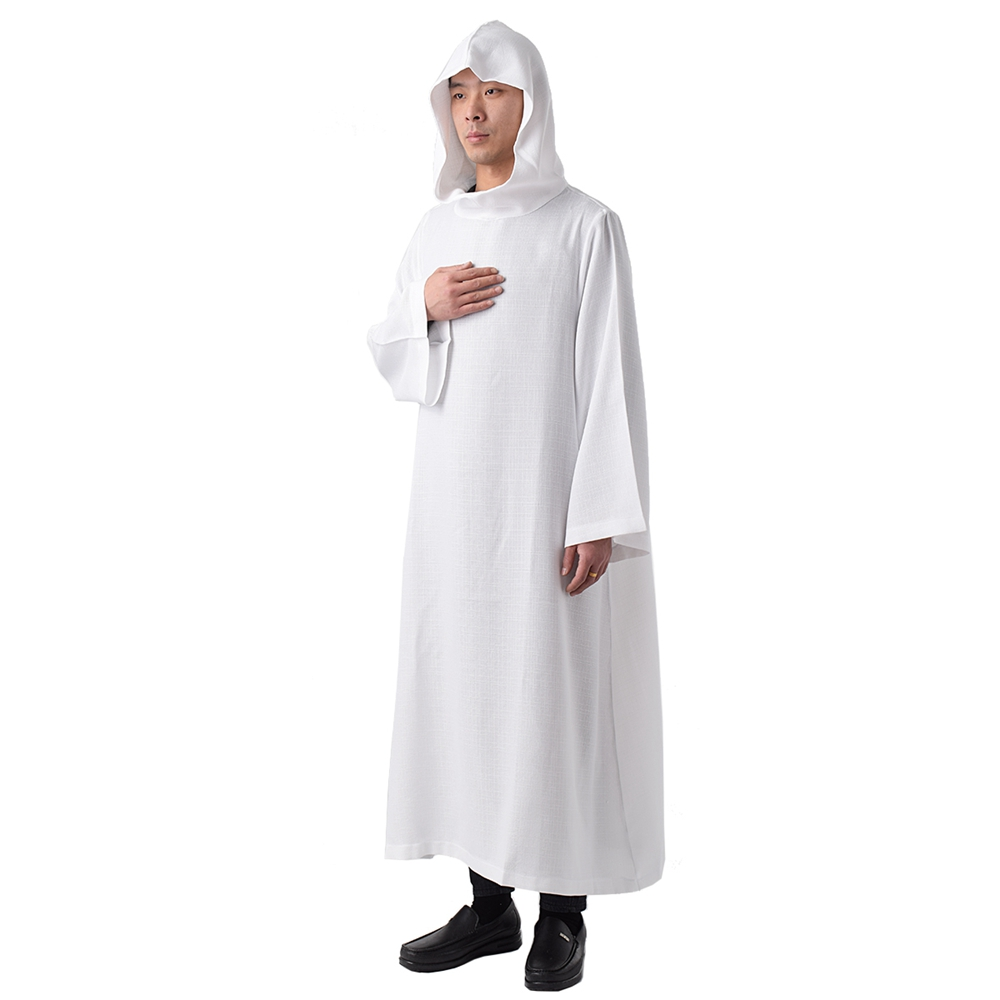 Size 10 Liturgical Church Garment White Polyester Monastic Alb with Hood