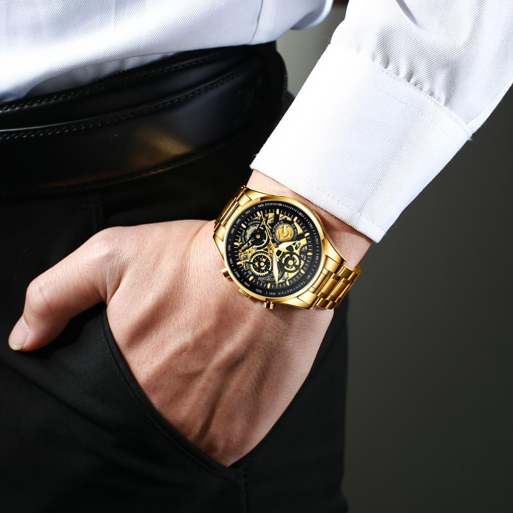 NIBOSI Mens Watches Luxury Brand Fashion Gold Skeleton Quartz Watch Men Sport Wristwatch Waterproof Clock Male Relogio Masculino