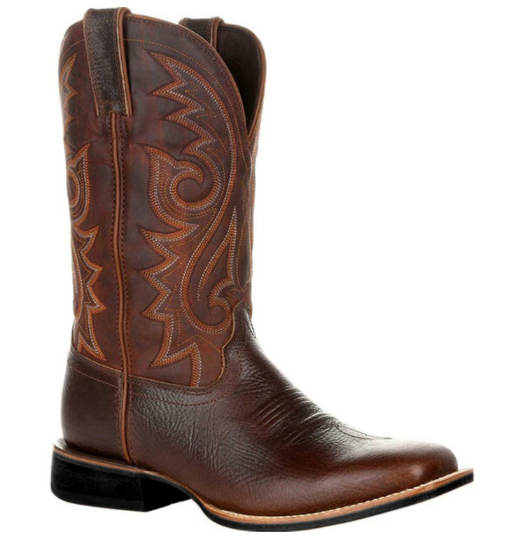 Right-side view of a Brown Western Cowboy Motorcycle Boot