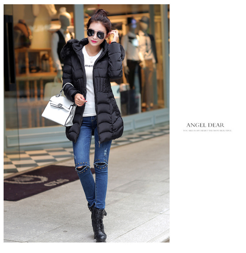 Winter Long Women Coats Parkas Slim Pleated Black Female Coat Outwear Fashion Disassembled Hooded Cotton Women Jackets MLD1271 13