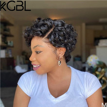 "KGBL Curly 13*4 Lace Front Human Hair Wigs With Baby Hair 6""-8"" Brazilian Non-Remy Natural Color 180Density Medium Ratio(Китай)"