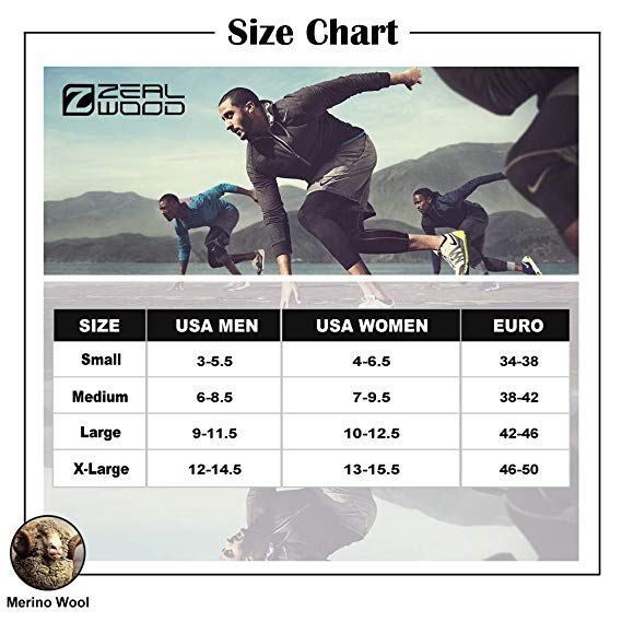 Merino Wool Socks, ZEALWOOD Athletic Cushion Crew Hiking & Trekking Socks,1/3 Pairs