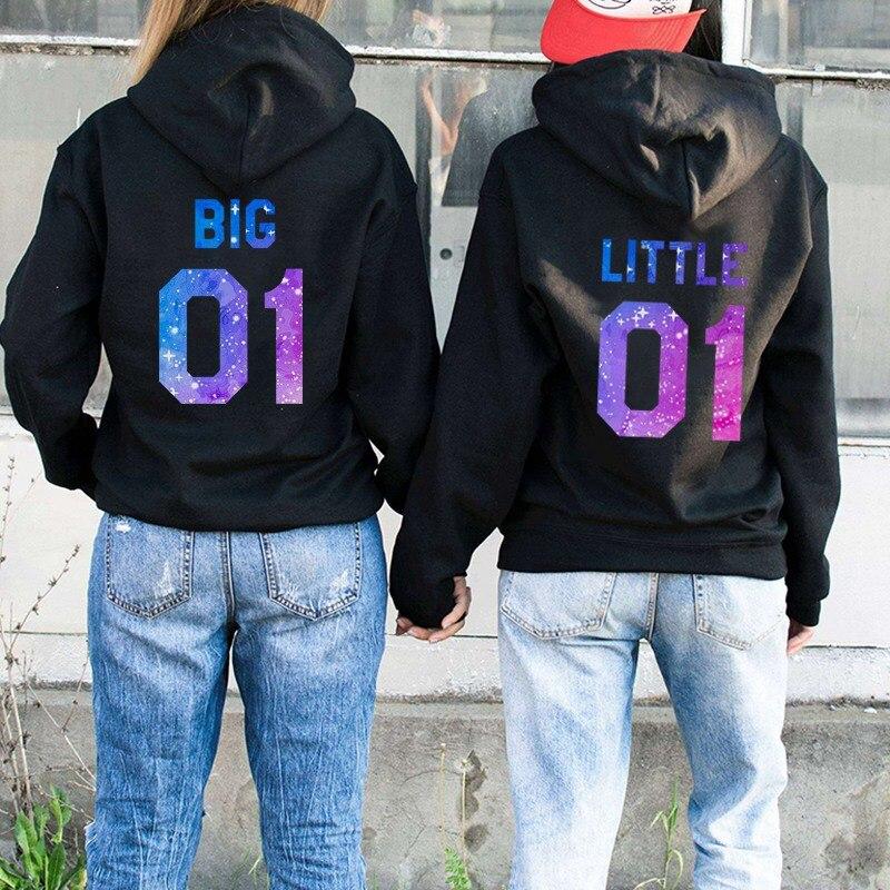 Best Friends Couple Hoodies BIG LITTLE 01 Letter Printed Women Hooded Sweatshirt Female Long Sleeve Pullover