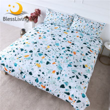 BlessLiving Quartz Bedding Set Colorful Stones Comforter Cover Rock Terrazzo Bed Cover Blue Orange Marble Bedlinen Hot Sale(China)