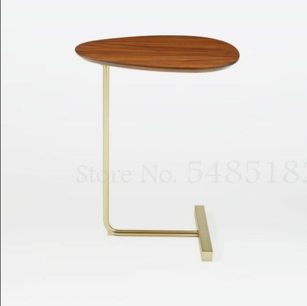 Simple Creative Oval Small Coffee Table Iron Sofa Corner Side Table Nordic Mobile Solid Wood Living Room Bedside Reading Table