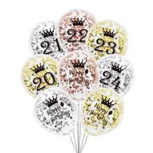 Anniversary Balloon Confetti Decorations 22nd 21st Birthday-Party Silver Rose-Gold 24th