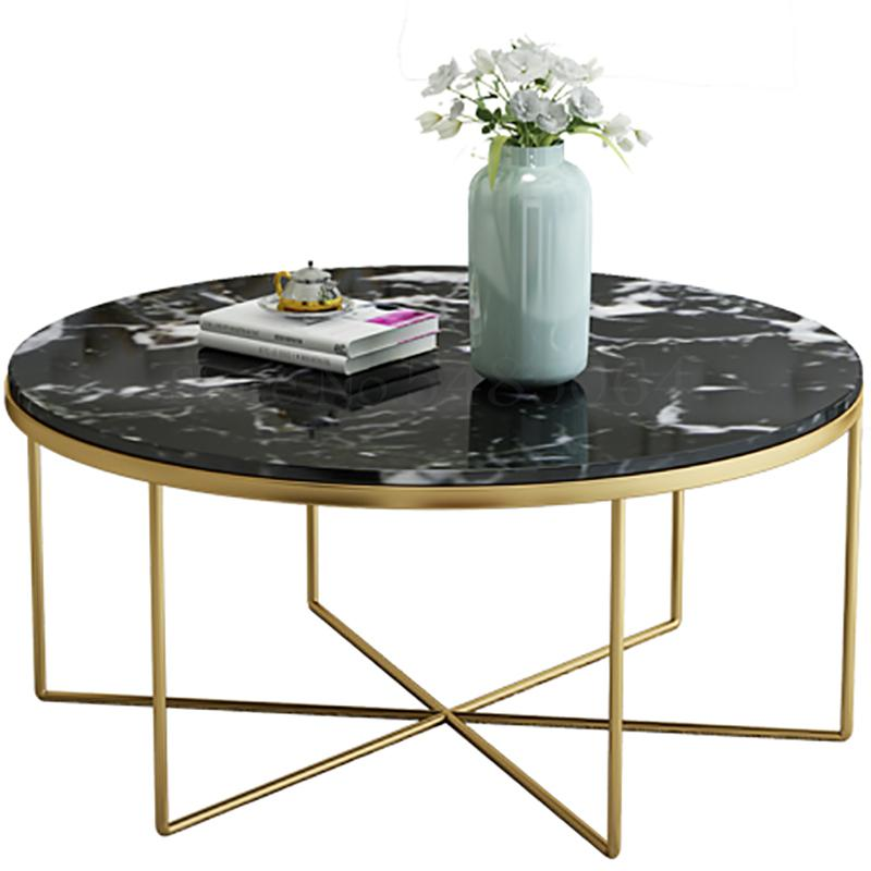 Nordic Living Room Tempered Glass Coffee Table Wrought Iron Round Creative Simple Modern Simple Small Apartment Marble Coffee Ta