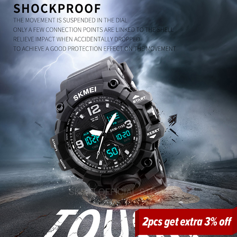 SKMEI Fashion Sports Watches For Men Shockproof Waterproof Digital Wristwatches Men Watch 2 Time Chrono Male reloj hombre 1155B