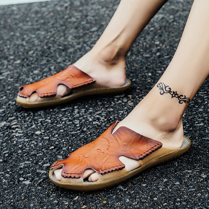 Quality Split leather Non-slip Slippers Men Beach Sandals Comfortable Summer Flats Shoes Men Slippers Classics Men Flip Flops