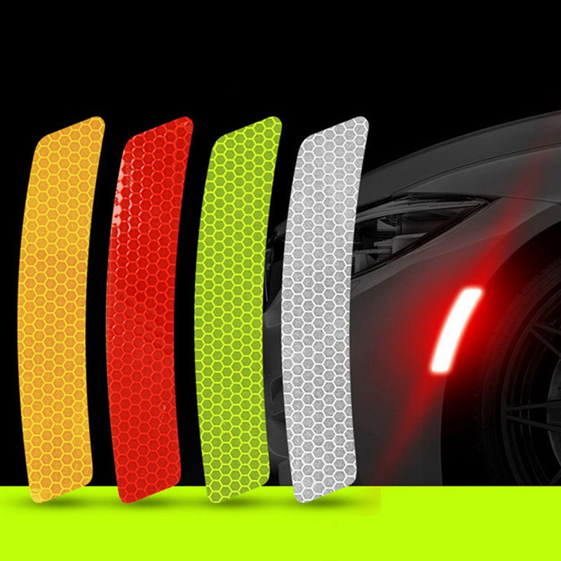 2pcs Auto Car Stickers Wheel Rim Eyebrow Reflective Warning Strip Safety Warning Light Reflector Protective Mark Accessories