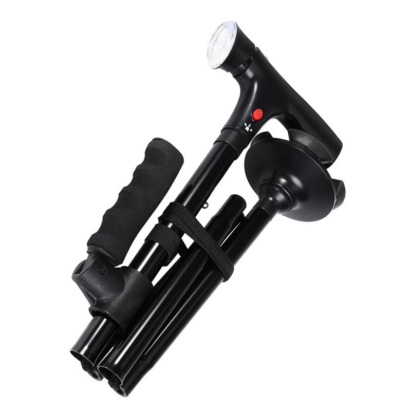 Hammer - Collapsible Telescopic Folding Cane LED Walking Stick for Hiking Camping and Elderly