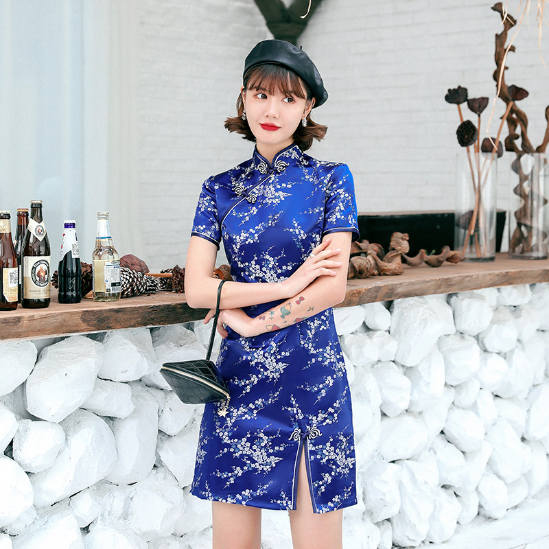 Navy blue Satin Qipao Summer Lady Traditional Chinese style Cheongsam Dresses Women Mandarin Collar Silm Qipao dress Size S-XXL