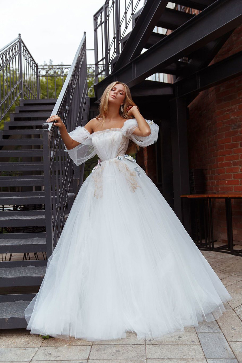 Eightale Bohemian Wedding Dress 2020 Strapless Princess Off the Shoulder A-Line Tulle Wedding Gown Bride Dress vestidos de novia
