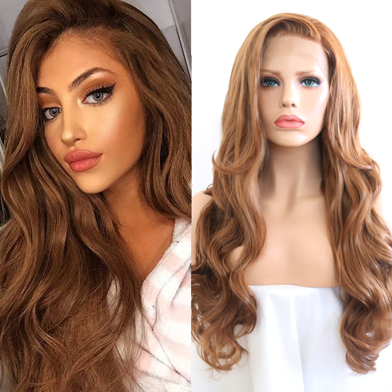 RONGDUOYI Ash Blonde Synthetic Lace Front Wig Long Wavy High Temperature Fiber Hair Glueless Front Lace Cosplay Wigs for Women