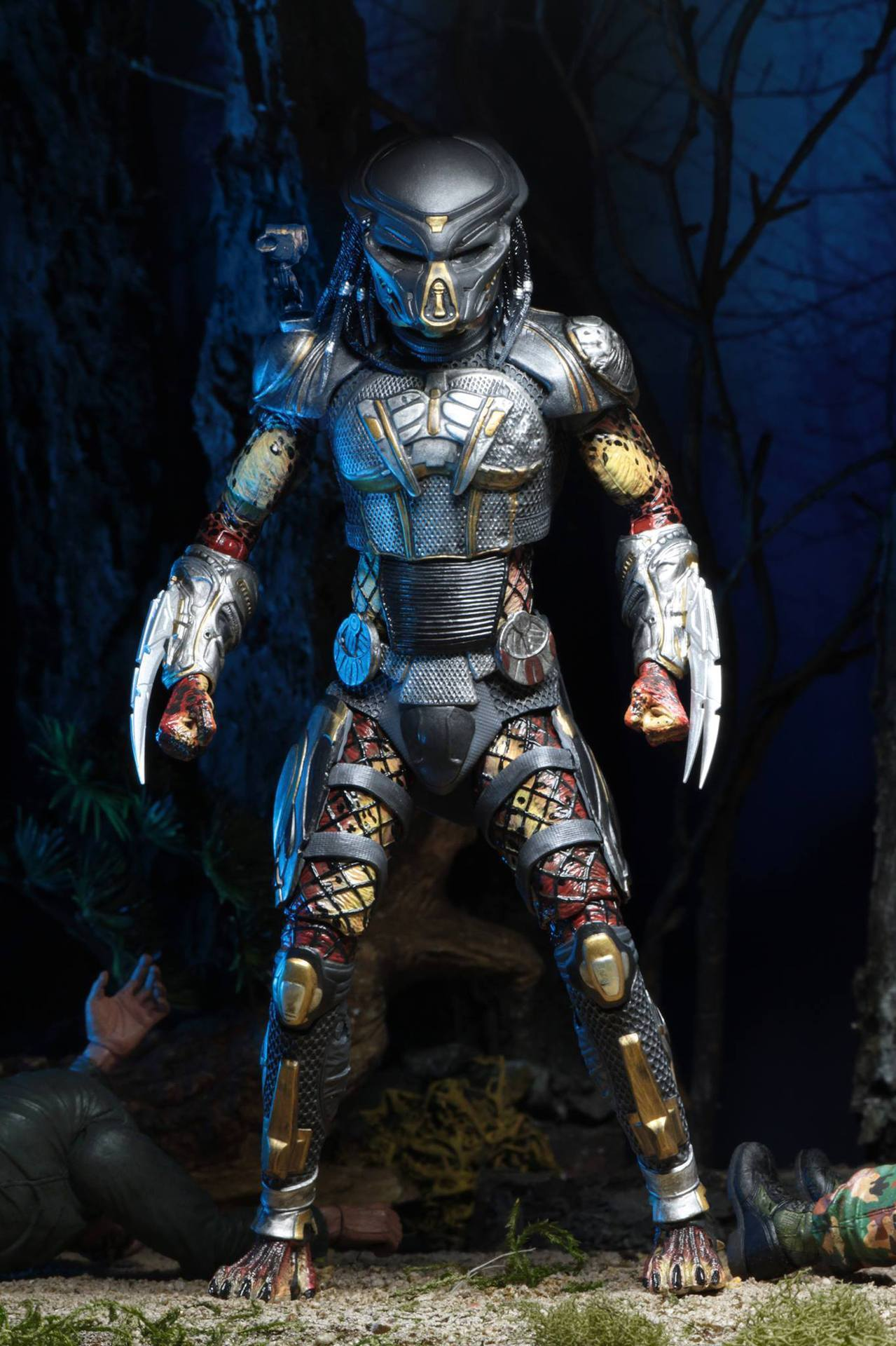 2pcs Head 2018 New NECA Aliens vs Predator Ultimate Fugitive Predator Unmasked Scarface Action Figure Toy Doll (5)