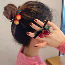 Elastic-Hair-Bands Korean-Accessories Wholesale-Sets Rubber-Tie Bow Knot Acrylic Girl