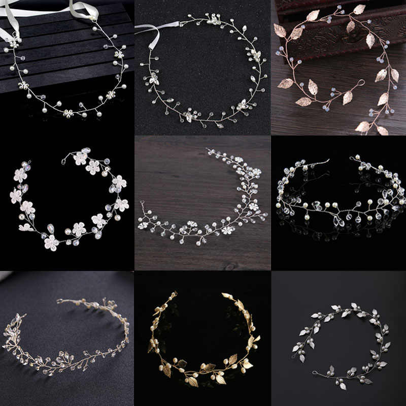 FORSEVEN Gold Silver Headbands Hair Jewelry Pearl Crystal Leaf  Bride Tiaras Headpiece Wedding Bridal Hair Accessories Gift JL